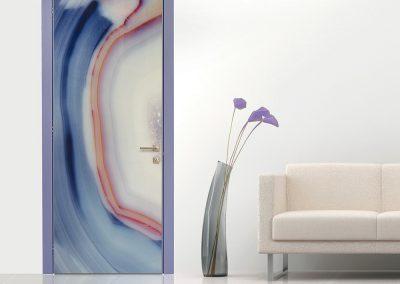 Contini Porte - Porta in policarbonato con cromia blu e rossa