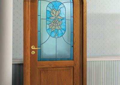 Contini Porte - Porta listellare ad arco con vetro azzurro rilegato essenza rovere Mod NDRR-V