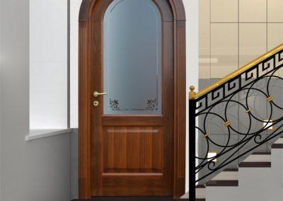 Contini Porte - Porta listellare ad arco con vetro decorato essenza noce mod. NDRR-V
