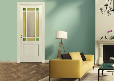 Contini Porte - Porta listellare laccata con vetri colorati mod. NDL1